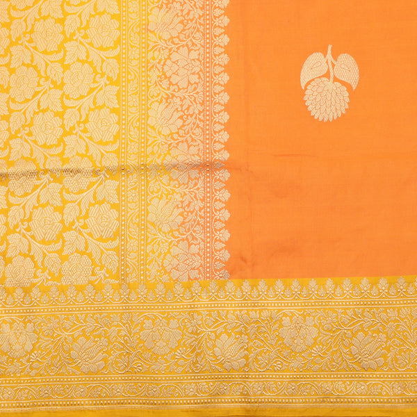 Handwoven Carrot Orange Banarasi  Katan Tissue Silk Sari - WIIBT0083 - Full View