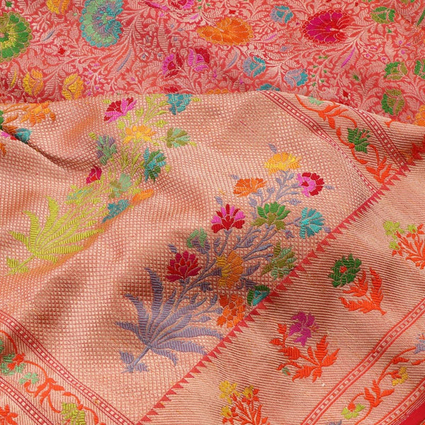 Handwoven Multicoloured Khimkhab Meenakari Banarasi Silk Sari - WIIEDT1152 01 - Design View
