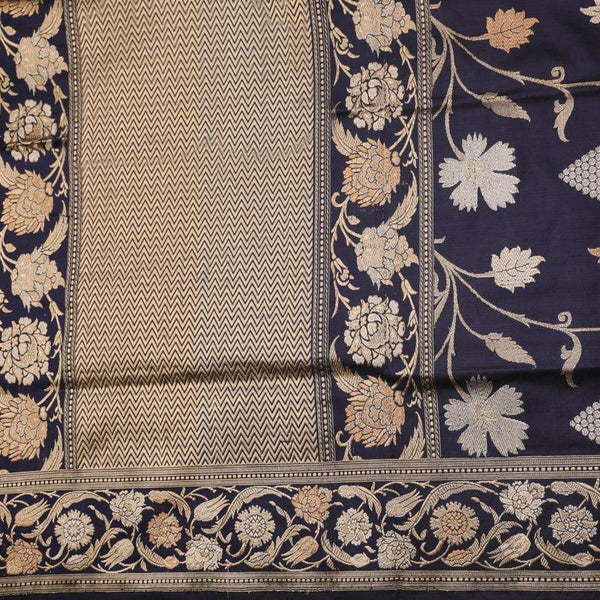 Handwoven Indigo Banarasi Silk Sari - WIIBT0100 - Full View
