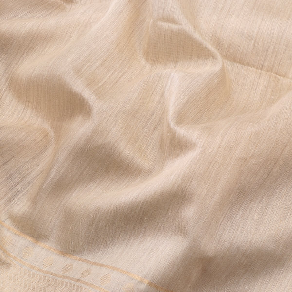 Handwoven Off-White Muga Tussar Silk Sari-WIIGS039 - Designer View