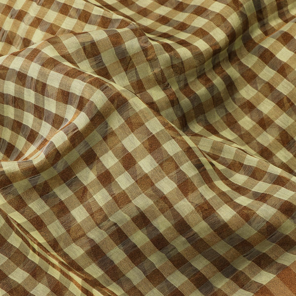 Handwoven Pista Green And Brown Checks Silk Cotton Chanderi Sari - WIIAPRI CTSR0002 - Fabric View