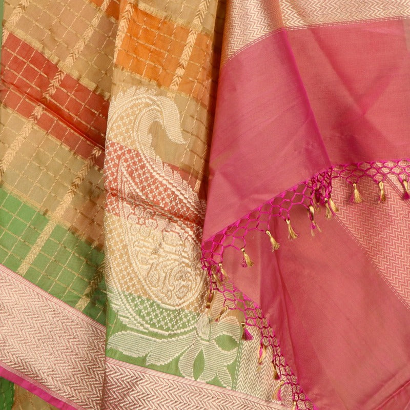 Handwoven Multicoloured Gold Checkered Banarasi Silk Dupatta - WIIRJ0180 - Design View 2