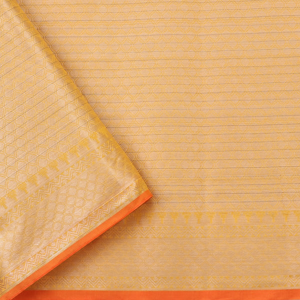 Handwoven Sunshine Yellow Silk Cotton Chanderi Sari - WIISHNIKARIDNAM0101-3 - Blouse View
