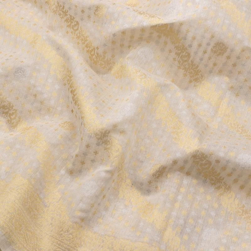 Handwoven Shwetambri Muslin Cotton Sari-WIIGS049-Design View
