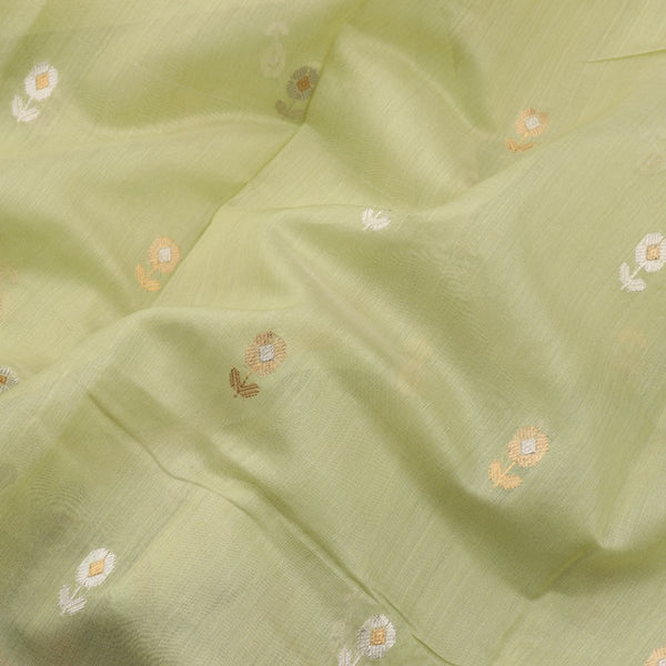 HANDWOVEN PISTA GREEN CHANDERI SILK EK NALIYA BUTTI SARI-WIIAPRICEBS 01- Design View
