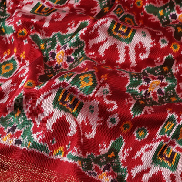 Handwoven Vermilion Red Single Ikat Twill Silk Sari With Kanjivaram Border-WIIGS033 - Design View