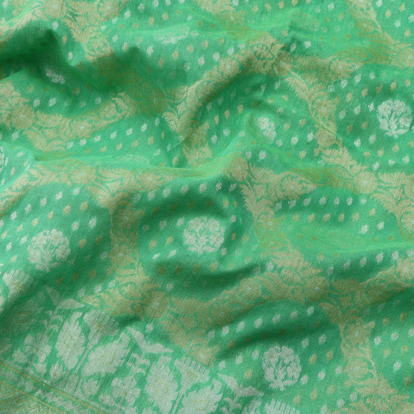 Handwoven Parrot Green Banarasi Muslin Cotton Sari-WIIGS045-Design View