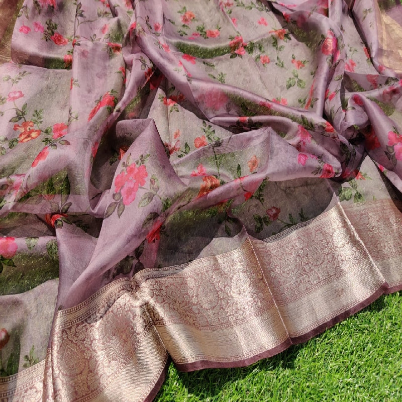 Onion Pink Digital Printed Organza Saree