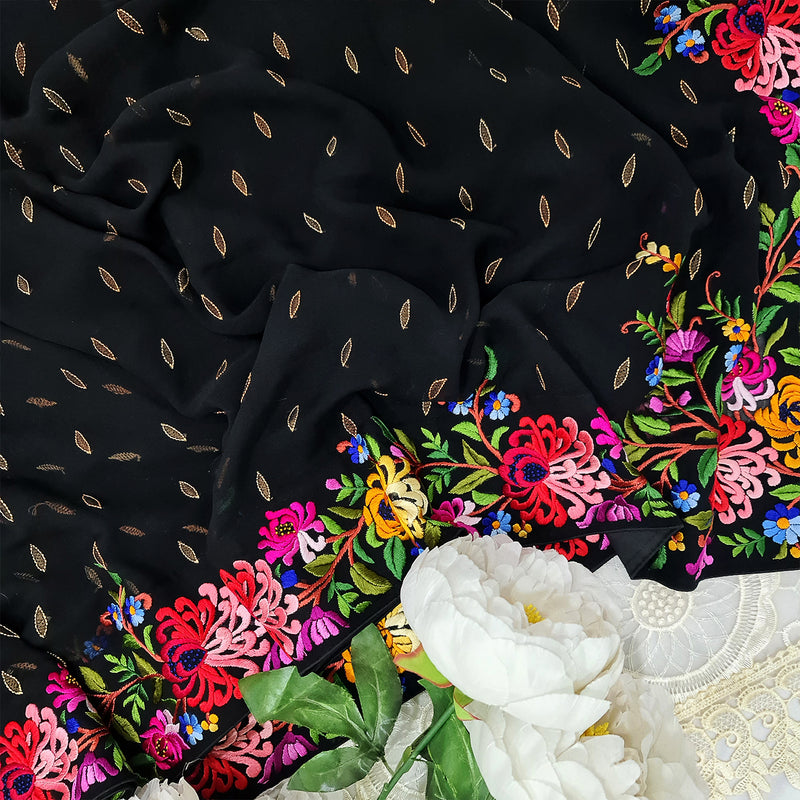 Black Hand Embroidered Parsigara Saree -Pre Order