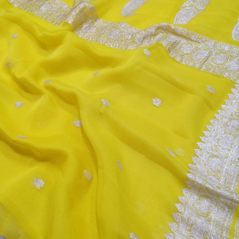 Lemon Yellow Khaddi Georgette Silk  Saree-Pre Order