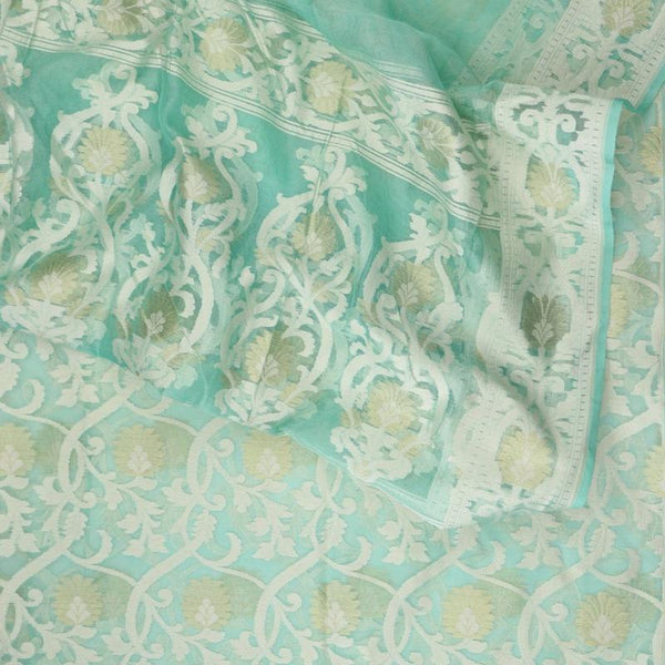 Handwoven Aqua Sky Blue Banarasi Silk Cotton Jamdani Suit - WIIRJ11285010 - Motif View
