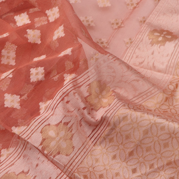 Handwoven Flamingo Pink Banarasi Silk Cotton Jamdani Suit - WIIRJ11285004 - Fabric View
