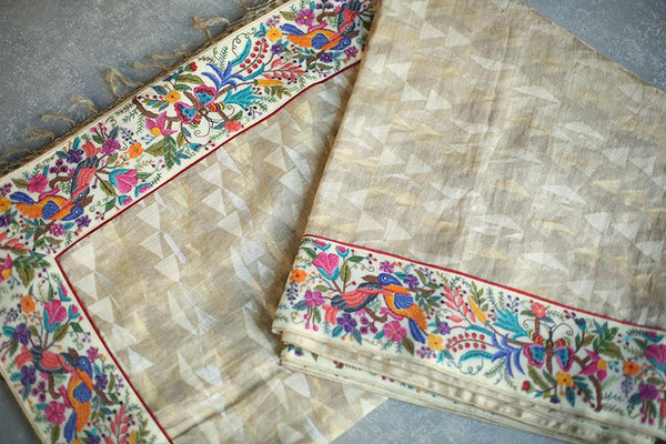 Handwoven Uppada Seashell White Sari With Real Zari And Handworked Floral Embroidery