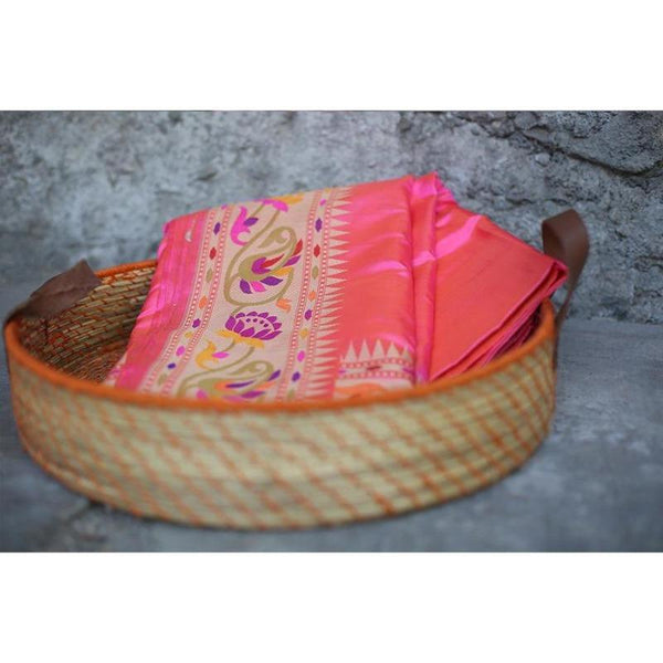 Handwoven Banarasi Lotus Pink Summer Silk Sari With Paithani Border