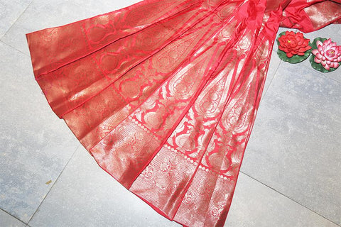 Handwoven Banarasi Scarlet Red Silk Lehenga With Antique Zari