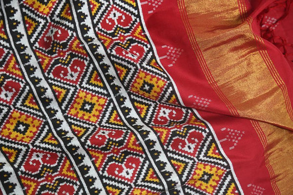Handwoven Patan Patola Double Ikat Silk Sari With Diamond Motif #5