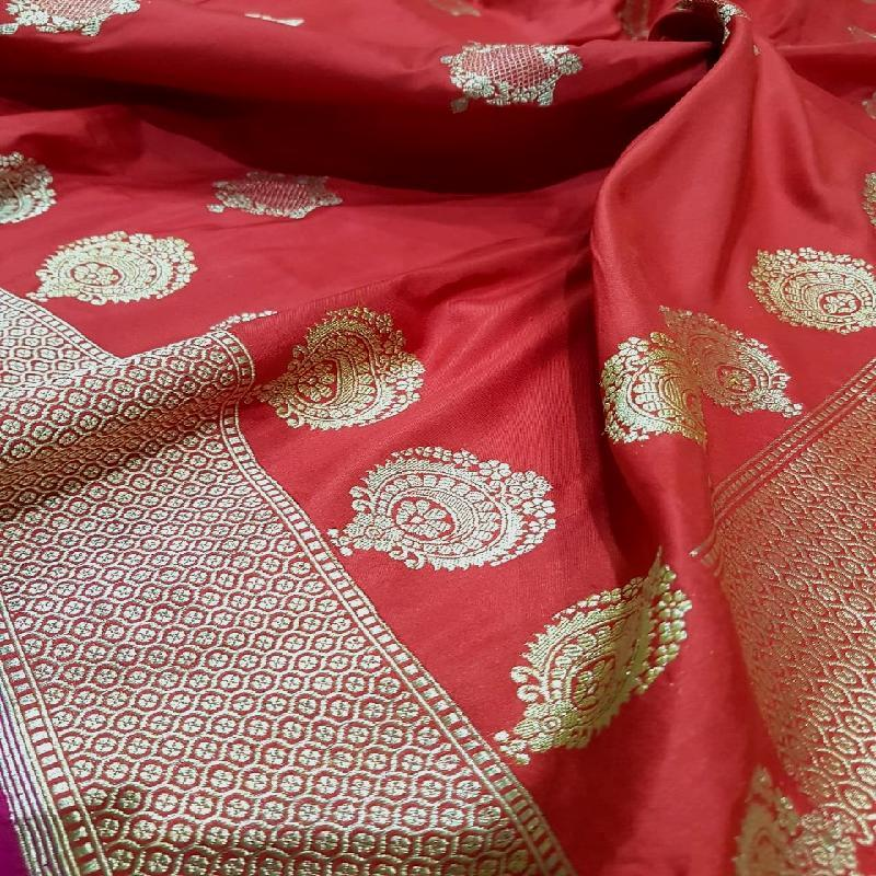 Bright Red Banarasi Silk Saree
