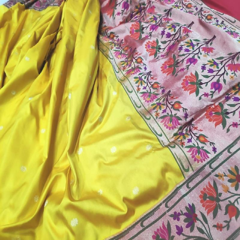 Sunshine Yellow Banarasi Silk Saree - WeaveinIndia