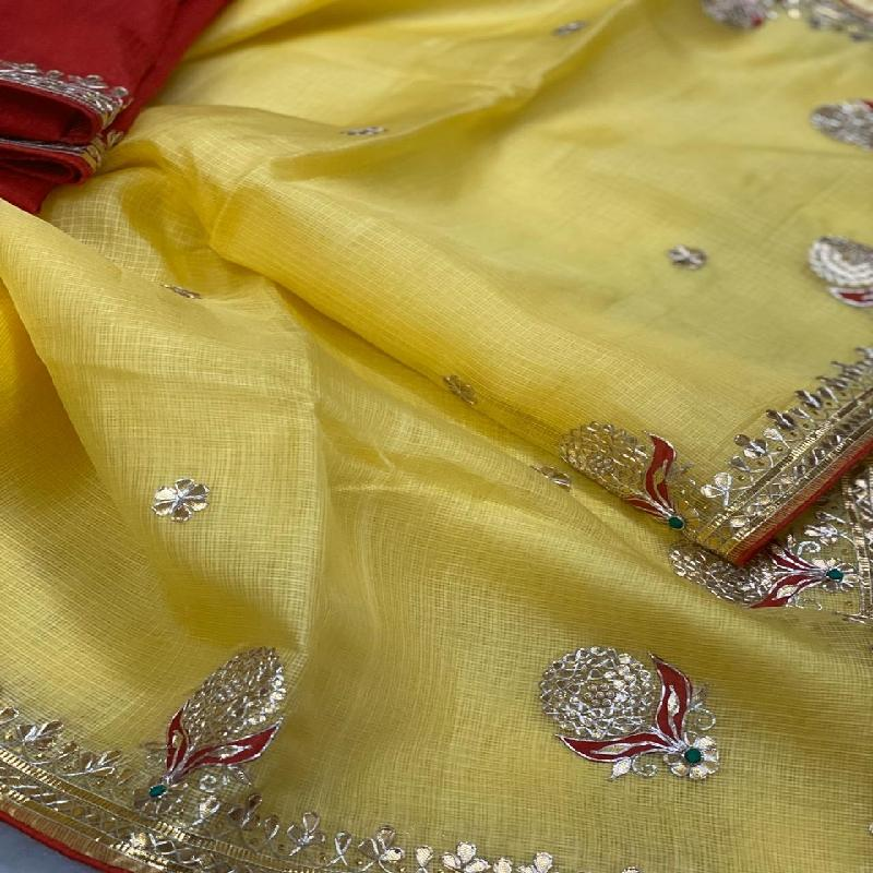 Sunflower Yellow Kota Silk Saree - WeaveinIndia