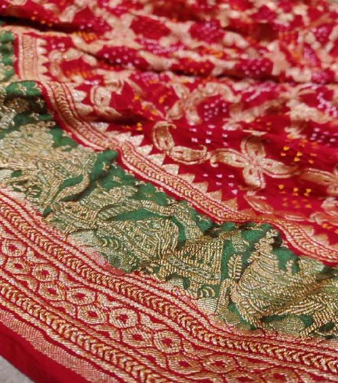 Bright Red Bandhani Saree - WeaveinIndia