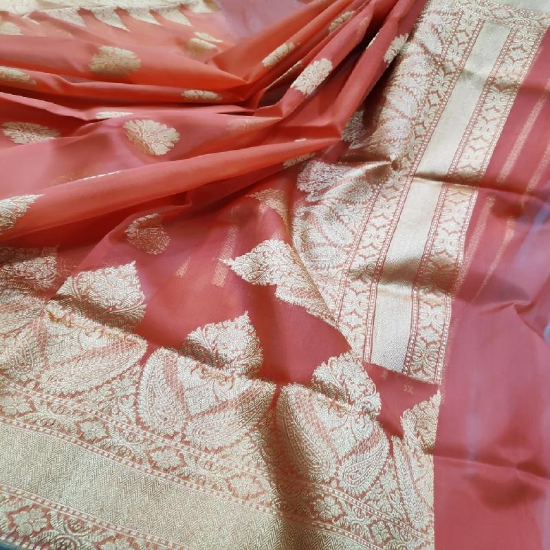 Coral Orange Kora Banarasi Silk Saree - WeaveinIndia