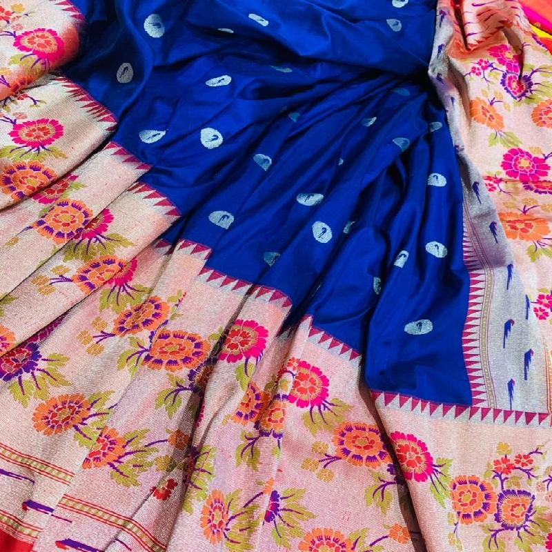 Royal Blue Paithani Silk Saree - WeaveinIndia