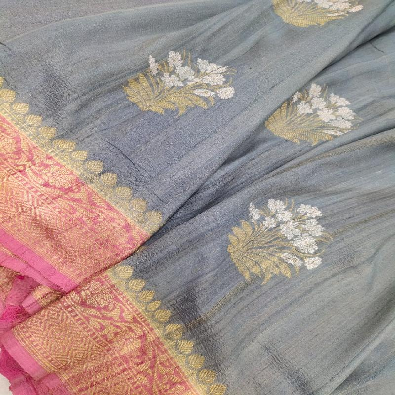 Grey Tussar Georgette Silk