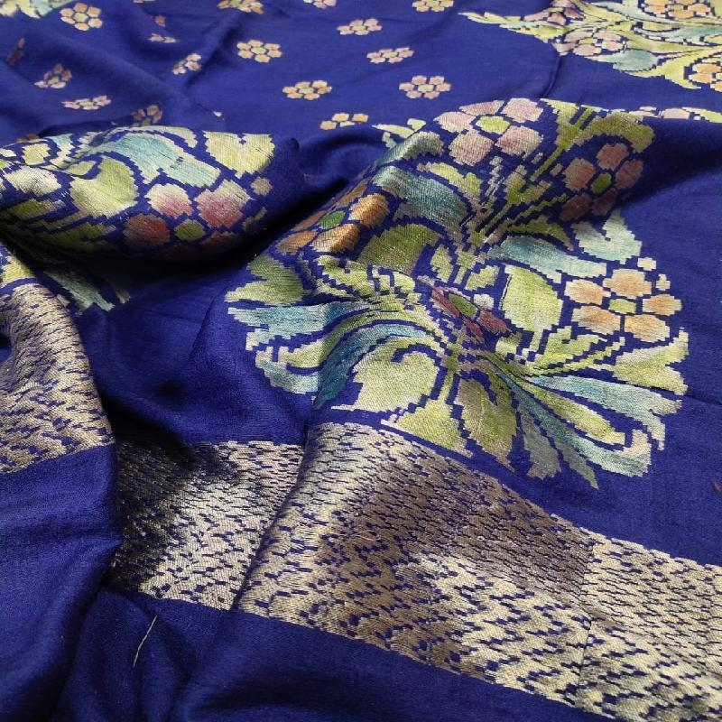 Ink Blue Banarasi Dupatta