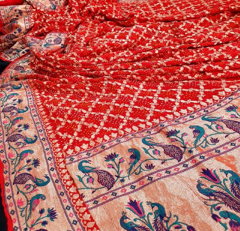 Red Bandhani Saree