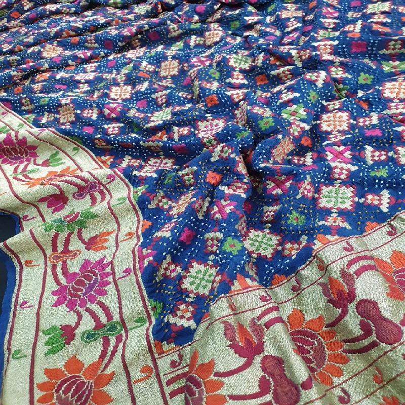 Royal Blue Bandhani saree