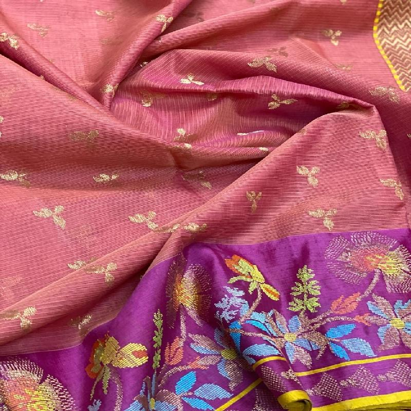 Onion Pink Kota Silk Saree - WeaveinIndia