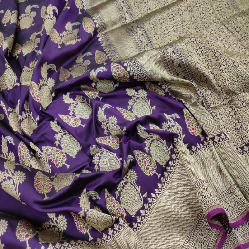 Purple Banarasi Silk Saree - WeaveinIndia