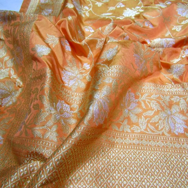 Light Orange Banarasi Silk Saree
