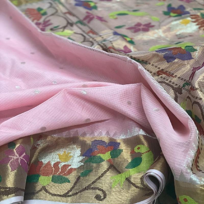 Blush Pink Kota Silk Saree - WeaveinIndia