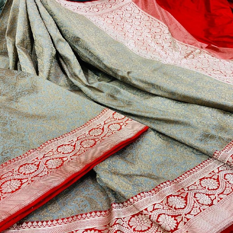 Powder Blue Banarasi Silk Saree - WeaveinIndia