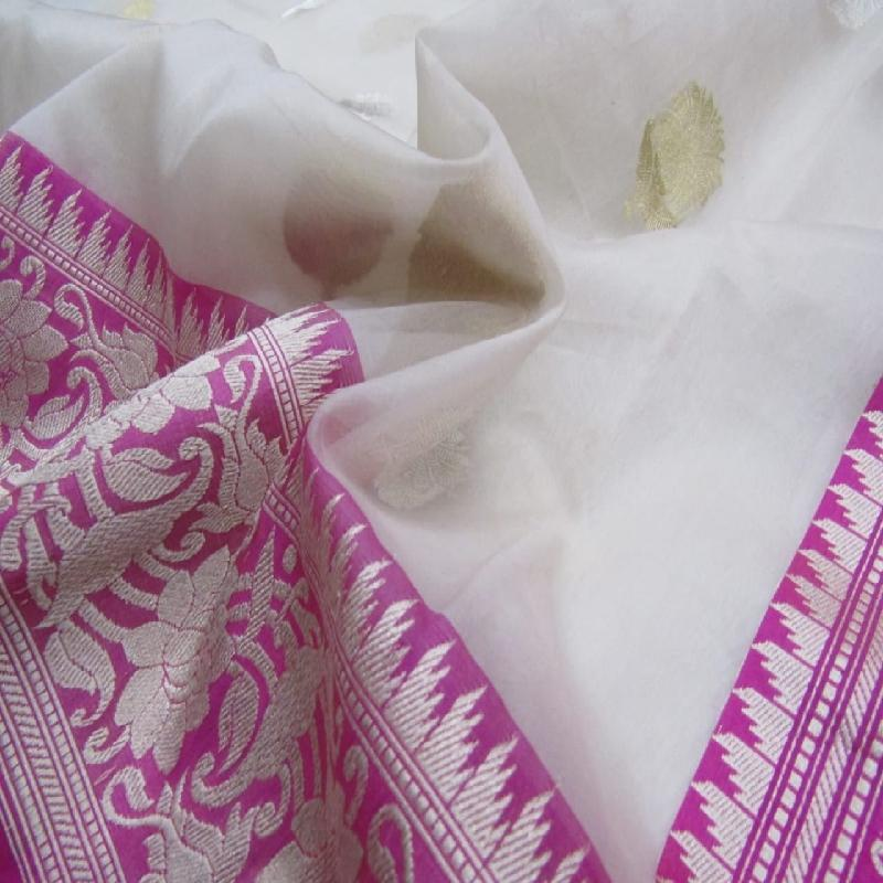 White Banarasi Kora Silk Saree