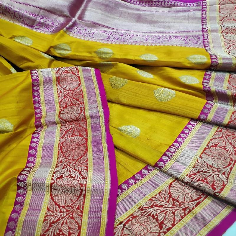 Mustard Yellow Tussar Georgette Silk Saree - WeaveinIndia