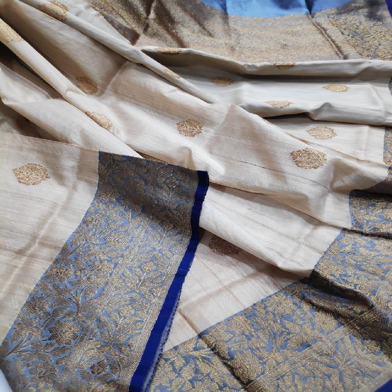 Off-White Tussar Georgette Silk Saree