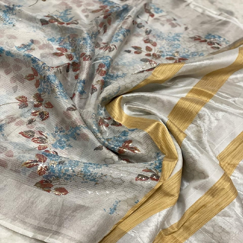 Ash-Grey Kota Silk Saree