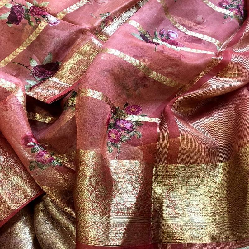 Onion Pink Digital Printed Organza Saree - WeaveinIndia