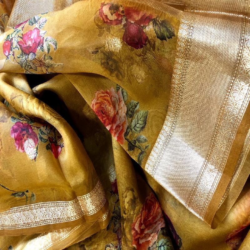 Yellow Digital Printed Organza Saree - WeaveinIndia