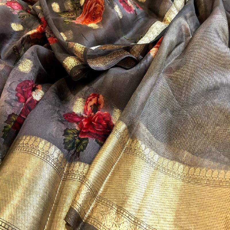Grey Digital Printed Organza Saree - WeaveinIndia