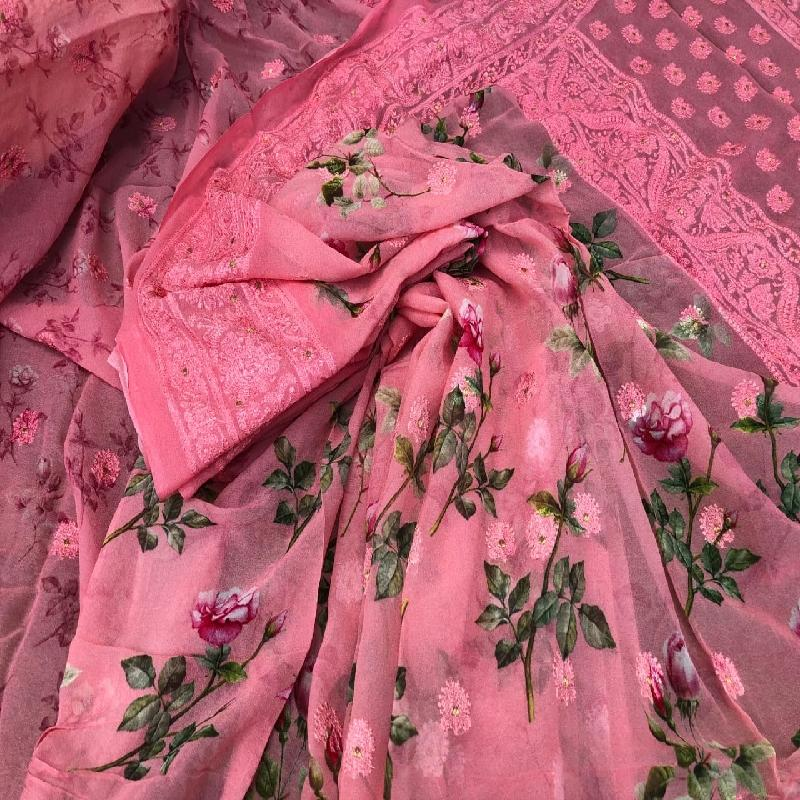 Pink Digital Printed Georgette Saree - WeaveinIndia