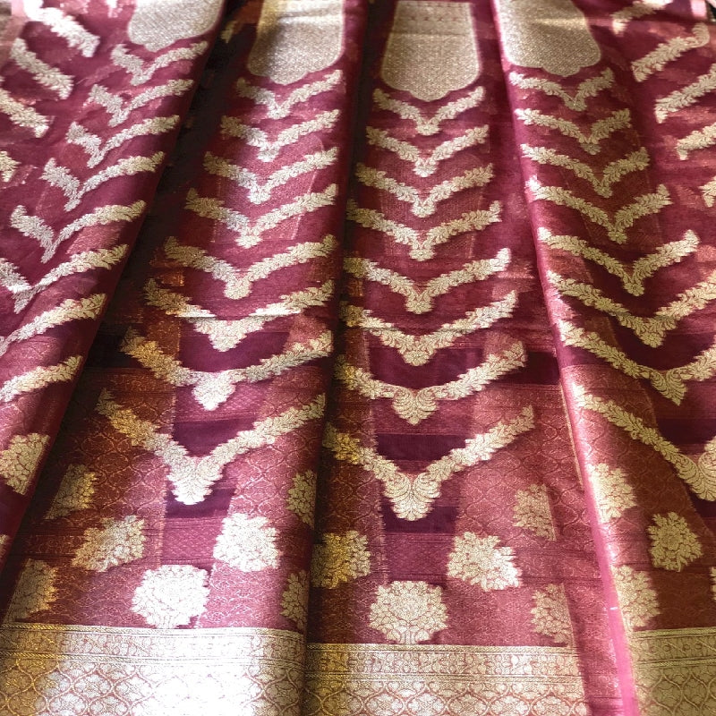 Brick Red Banarasi Organza Unstitched Lehanga