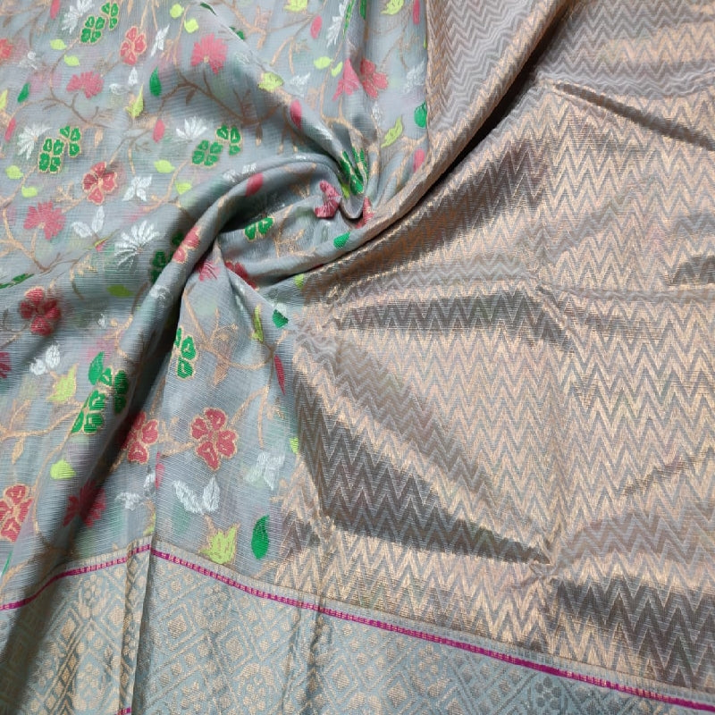 Slate Grey Kota Silk Saree