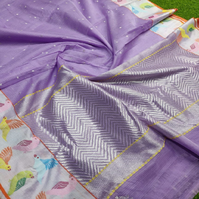 Purple Kota Silk Saree