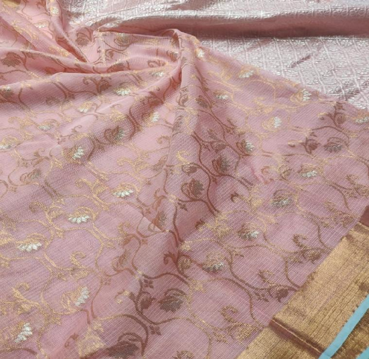 Blush Pink Kota Silk Saree