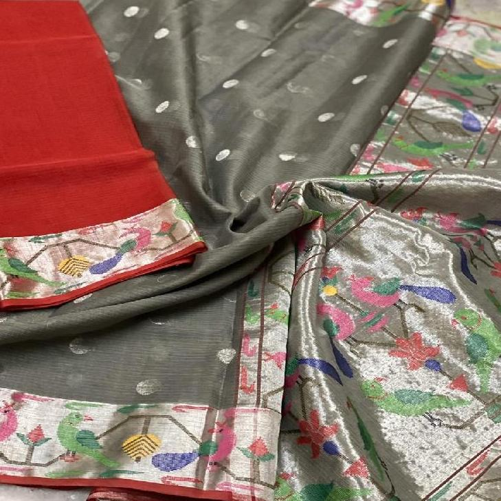 Grey Kota Silk Saree