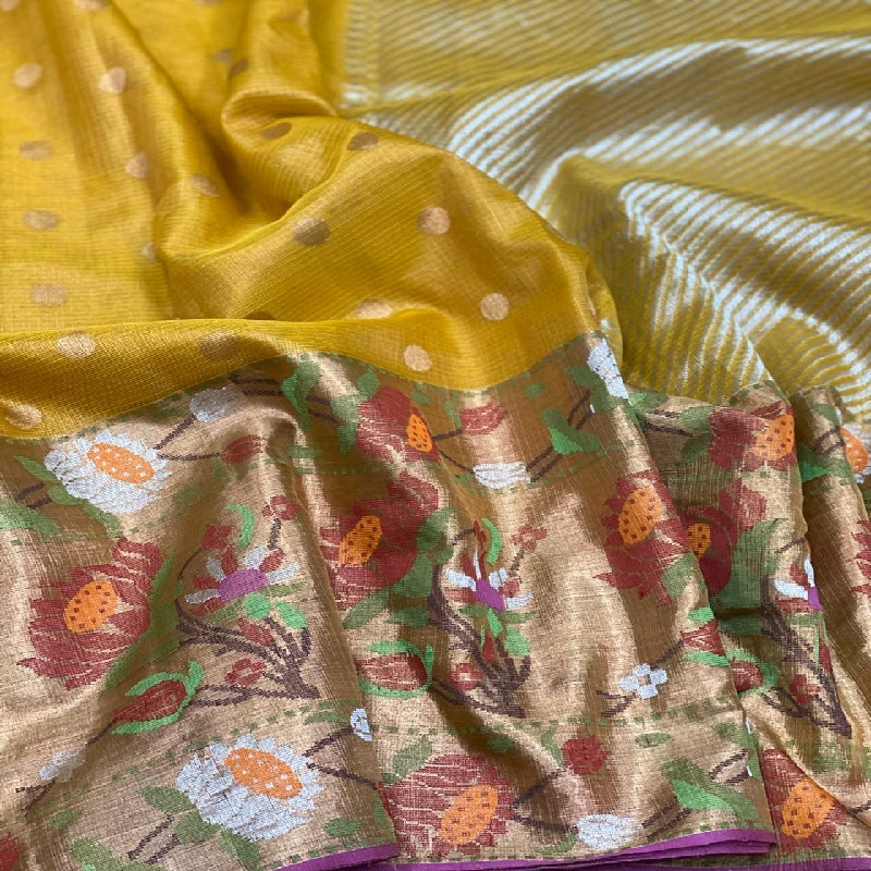 Sunshine Yellow Kota Silk Saree