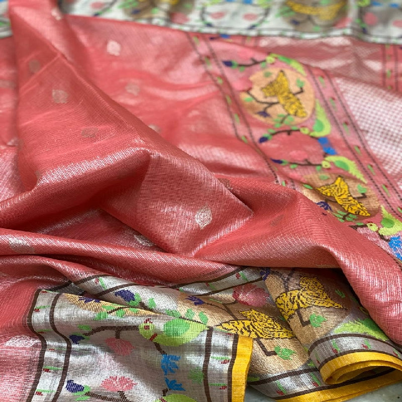 Onion Pink Kota Silk Saree